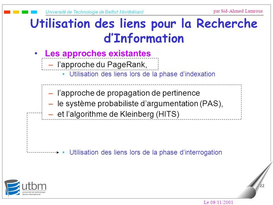Université de Technologie de Belfort Montbéliard par Sid-Ahmed Lamrous Le 09/11/2001 22 Utilisation des liens pour la Recherche dInformation Les appro