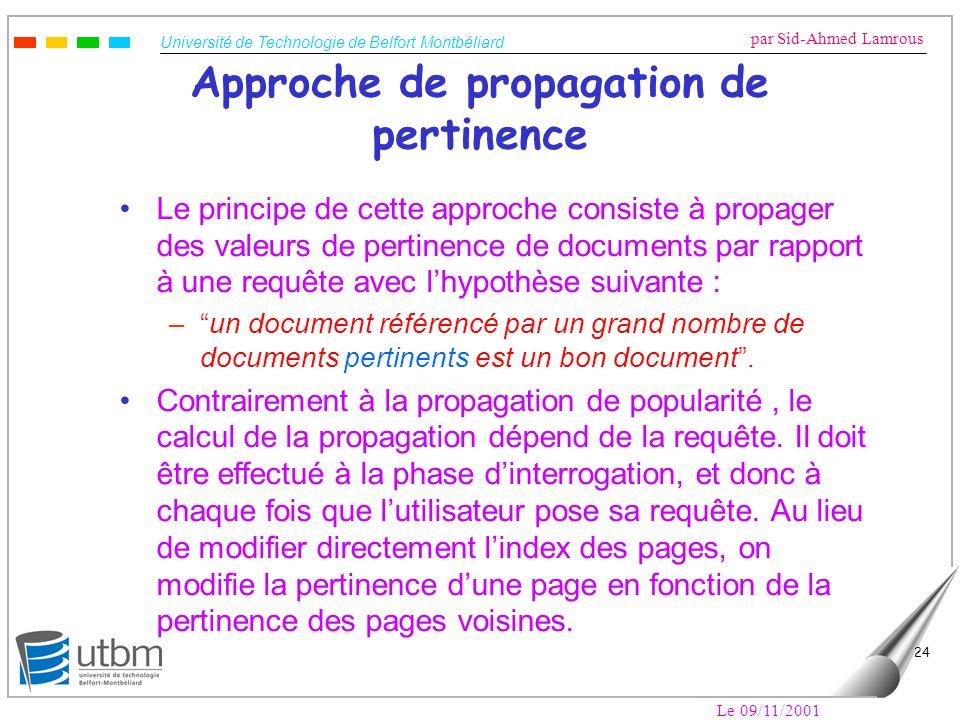 Université de Technologie de Belfort Montbéliard par Sid-Ahmed Lamrous Le 09/11/2001 24 Approche de propagation de pertinence Le principe de cette app