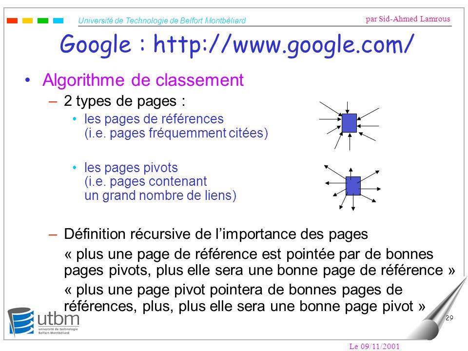 Université de Technologie de Belfort Montbéliard par Sid-Ahmed Lamrous Le 09/11/2001 29 Google : http://www.google.com/ Algorithme de classement –2 ty