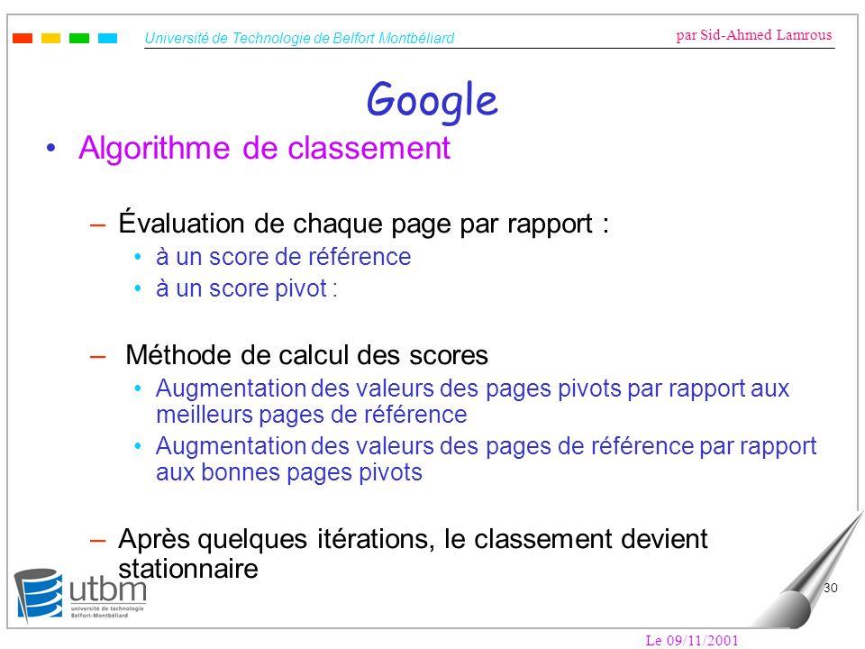 Université de Technologie de Belfort Montbéliard par Sid-Ahmed Lamrous Le 09/11/2001 30 Google Algorithme de classement –Évaluation de chaque page par