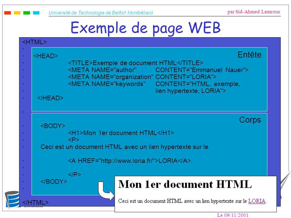 Université de Technologie de Belfort Montbéliard par Sid-Ahmed Lamrous Le 09/11/2001 45 Méta-moteurs Principe de fonctionnement –Interrogation (parallèle ou à la suite) de plusieurs moteurs de recherche à partir d une interface unique Deux types –Méta-moteurs accessibles par le WEB : http://www.search.com/, http://www.metacrawler.com/, http://www.ariane6.com/, … http://www.search.com/http://www.metacrawler.com/ http://www.ariane6.com/ –Méta-moteurs logiciels : à installer sur son ordinateur : Copernic, DigOut4U, … Intérêt –Besoin rapide d exhaustivité : recherches aboutissant à peu (ou pas) de réponse avec les moteurs de recherche classiques