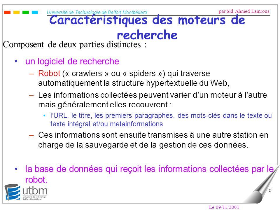 Université de Technologie de Belfort Montbéliard par Sid-Ahmed Lamrous Le 09/11/2001 6 Mise à jour de la base de données Mise à jour à intervalles réguliers dépendants de la rapidité du robot, ceci pour éliminer les liens morts, les fonctions principales de la base de données sont : –la recherche ou requête –linsertion des données –la mise à jour des données –la suppression des données