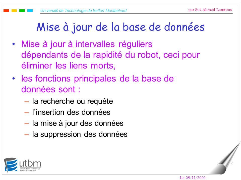 Université de Technologie de Belfort Montbéliard par Sid-Ahmed Lamrous Le 09/11/2001 6 Mise à jour de la base de données Mise à jour à intervalles rég