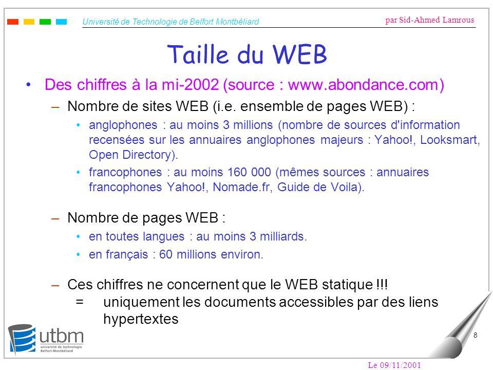 Université de Technologie de Belfort Montbéliard par Sid-Ahmed Lamrous Le 09/11/2001 8 Taille du WEB Des chiffres à la mi-2002 (source : www.abondance