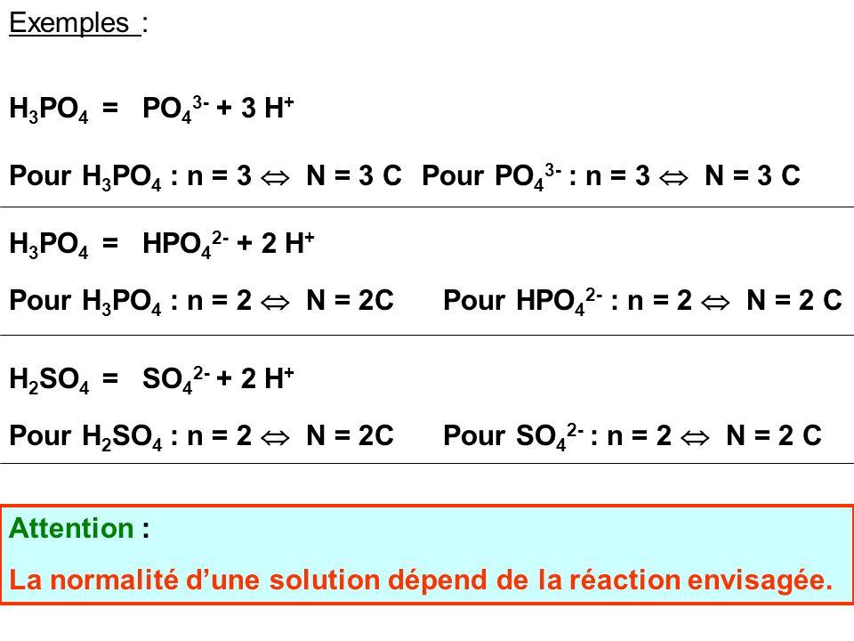 14 Notion de Normalité On utilise parfois la notion de normalité pour simplifier les calculs lors des problèmes de titrages. Une solution Normale dun