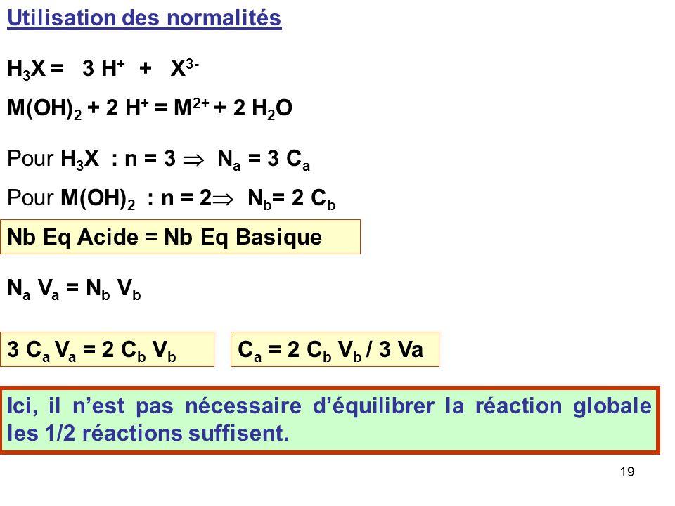 18 2 H 3 X3 M(OH) 2 C a ; V a H3XH3X C b ;bV b M(OH) 2 nana nbnb 3 n a = 2 n b 3 C a V a = 2 C b V b C a = 2 C b V b / 3 V a C a = 2 * 0,2 * 10,5 / 20