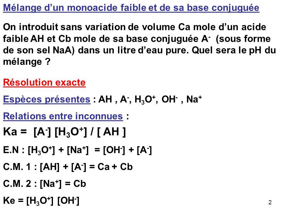 72 K 1 = [HCO 3 - ] [H 3 O + ] / [H 2 CO 3 ] K 2 = [CO 3 2- ] [H 3 O + ] / [HCO 3 - ] K 1 / K 2 = [HCO 3 - ] 2 / [CO 3 2- ] [H 2 CO 3 ] [CO 3 2- ] = 0,99 C 0 [HCO 3 - ] = 0,0099 C 0 [H 2 CO 3 ] = 0,00001 C 0 K 1 / K 2 = 0,0099 2 / ( 0,0099 * 0,0001 ) = 10020,2 10 4 Soit : log K 1 - log K 2 = 4 Soit : pK = pK 2 - pK 1 = 4 Cette règle est tout a fait générale et sera toujours vérifiée.