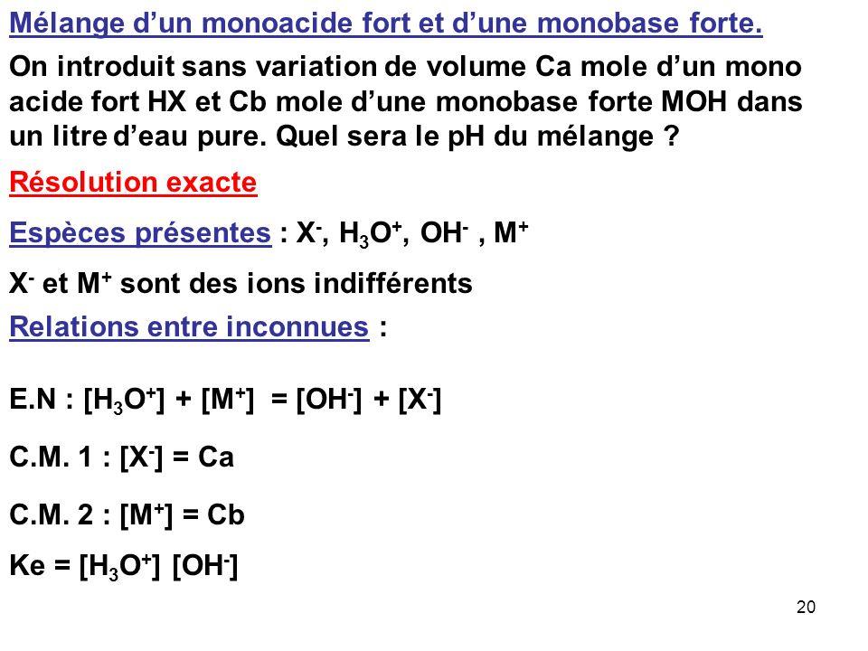 19 Utilisation des normalités Pour H 3 X : n = 3 N a = 3 C a Pour M(OH) 2 : n = 2 N b = 2 C b Nb Eq Acide = Nb Eq Basique N a V a = N b V b 3 C a V a