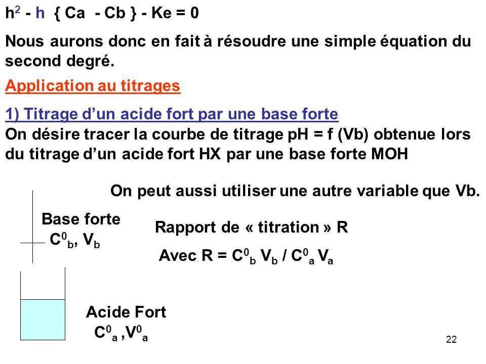 21 E.N : [H 3 O + ] + [M + ] = [OH - ] + [X - ] h + Cb = Ke / h + Ca [X - ] = Ca[M + ] = Cb [OH - ] = Ke / h h 2 + h Cb = Ke + h Ca h 2 + h Cb - h Ca
