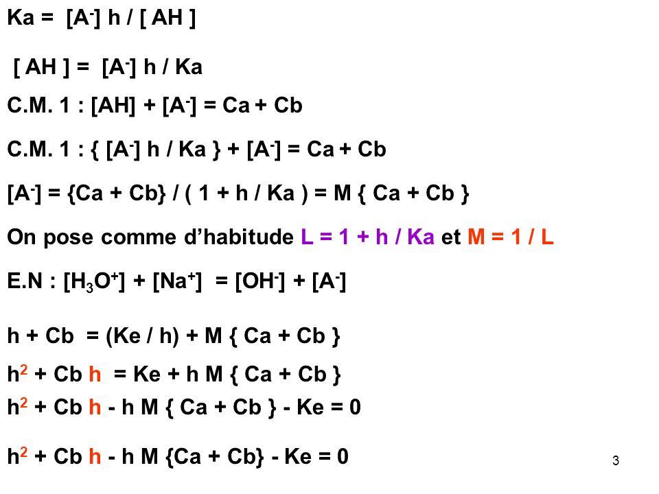 83 Entre le 2 ème et le 3 ème Point Equivalent ( 15 mL < Vt < 20 mL) Titrage de HCO 3 - : La R.P considérée comme totale est : HCO 3 - + H 3 O + H 2 CO 3 + H 2 O E.IC 0 b V 0 C 0 t V t 0 E.FC 0 b V 0 - C 0 t V t 0 C 0 t V t ExcèsDéfaut On a de nouveau affaire à une solution tampon pH = pK 1 + log { [CO 3 2- ] / [HCO 3 - ] } pH = pK 1 + log ({ ( C 0 b V 0 - C 0 t V t ** ) / C 0 t V t * * } pH = 6,4 + log { ( 0,5 - 0,1 V t ** ) / 0,1 V t ** }