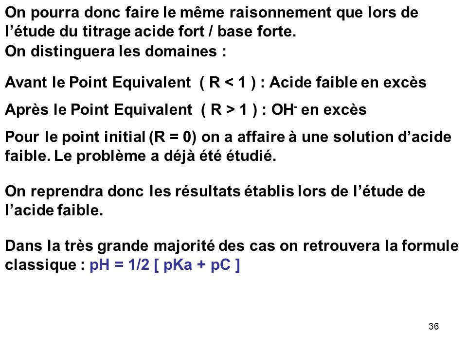 35 Résolution approximative : On peut considérer que la réaction qui se produit au cours du titrage est la réaction de neutralisation de lacide faible