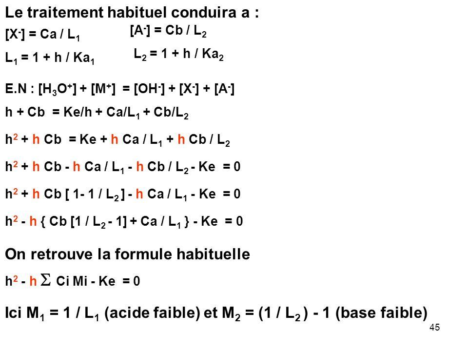 44 On introduit sans variation de volume Ca mole dun mono acide faible HX et Cb mole dune monobase faible MA dans un litre deau pure. Quel sera le pH