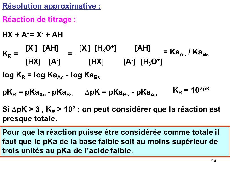 45 Le traitement habituel conduira a : [X - ] = Ca / L 1 L 1 = 1 + h / Ka 1 [A - ] = Cb / L 2 L 2 = 1 + h / Ka 2 E.N : [H 3 O + ] + [M + ] = [OH - ] +