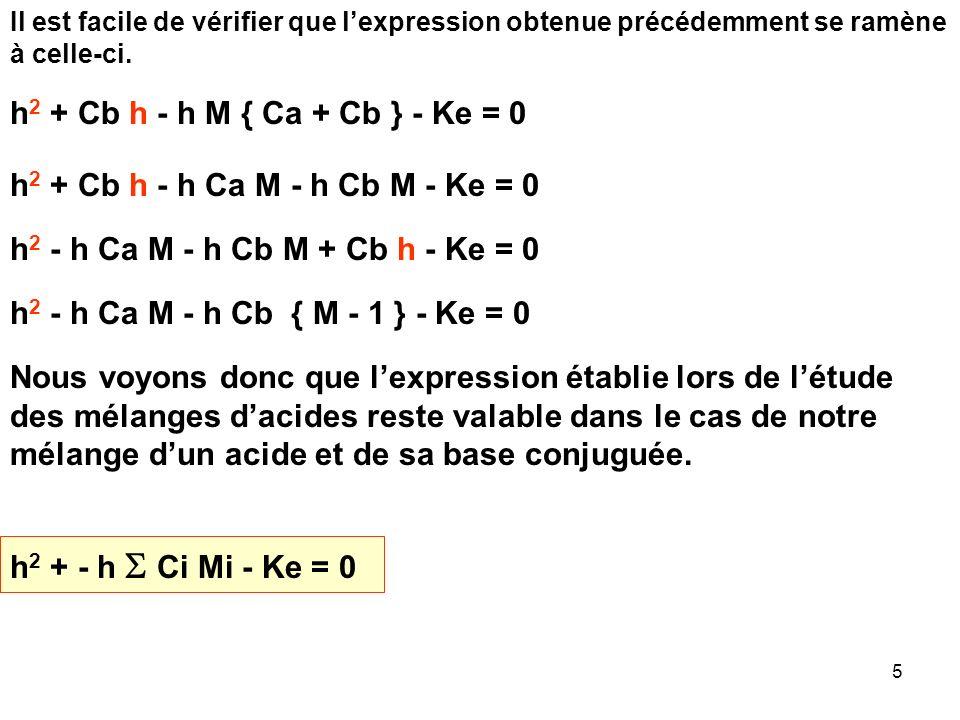 45 Le traitement habituel conduira a : [X - ] = Ca / L 1 L 1 = 1 + h / Ka 1 [A - ] = Cb / L 2 L 2 = 1 + h / Ka 2 E.N : [H 3 O + ] + [M + ] = [OH - ] + [X - ] + [A - ] h + Cb = Ke/h + Ca/L 1 + Cb/L 2 h 2 + h Cb = Ke + h Ca / L 1 + h Cb / L 2 h 2 + h Cb - h Ca / L 1 - h Cb / L 2 - Ke = 0 h 2 + h Cb [ 1- 1 / L 2 ] - h Ca / L 1 - Ke = 0 h 2 - h { Cb [1 / L 2 - 1] + Ca / L 1 } - Ke = 0 On retrouve la formule habituelle h 2 - h C i Mi - Ke = 0 Ici M 1 = 1 / L 1 (acide faible) et M 2 = (1 / L 2 ) - 1 (base faible)