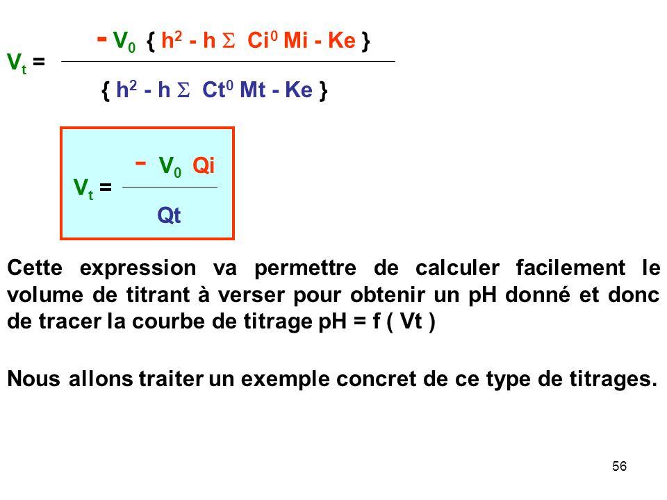 55 h 2 - h V 0 / (V 0 +Vt) Ci 0 Mi - h Vt/ (V 0 +Vt) Ct Mt - Ke = 0 h 2 (V 0 +Vt) - h V 0 C i 0 Mi - h Vt C t Mt - Ke (V 0 +Vt) = 0 On multiplie par (