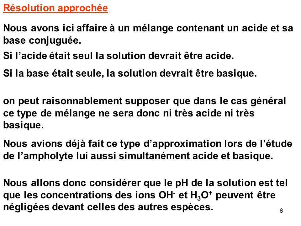 26 Résolution approximative du problème Nous avons vu que la réaction pouvait être considérée comme totale, cela va permettre de simplifier grandement le problème.