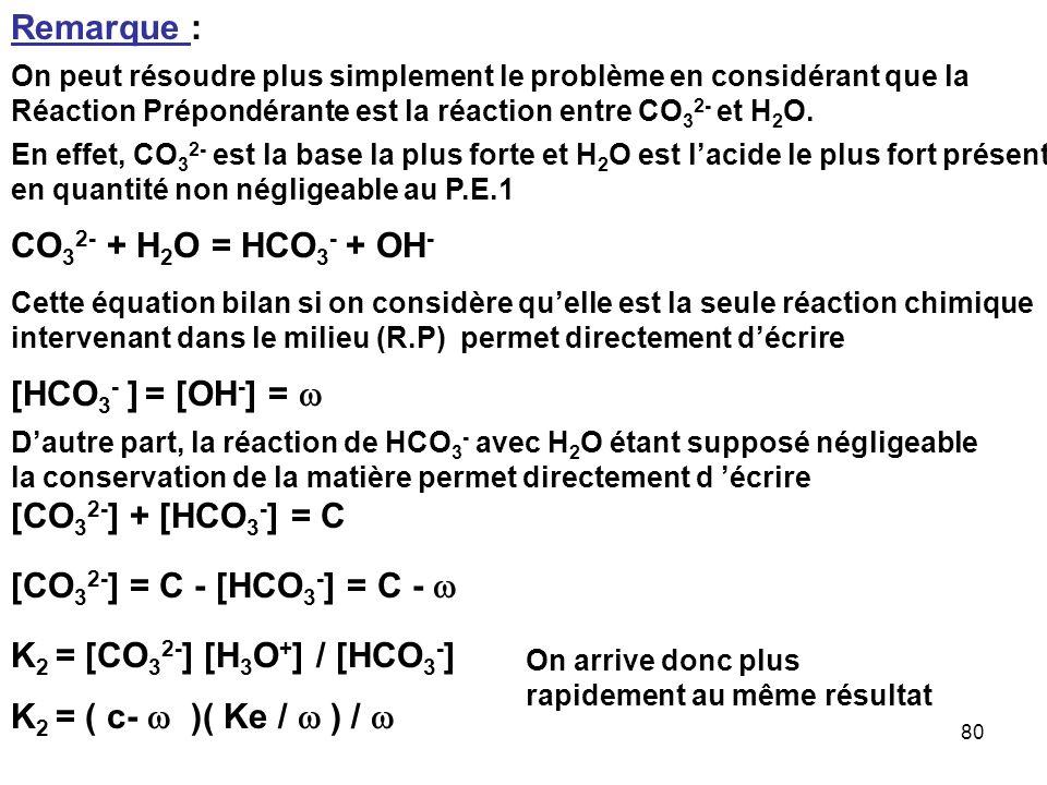 79 K 2 = [CO 3 2- ] [H 3 O + ] / [HCO 3 - ] [CO 3 2- ] + [HCO 3 - ] + [H 2 CO 3 ] = C [H 3 O + ] + 2 C = [OH - ] + 2 [CO 3 2- ] + [HCO 3 - ] [Na + ] =