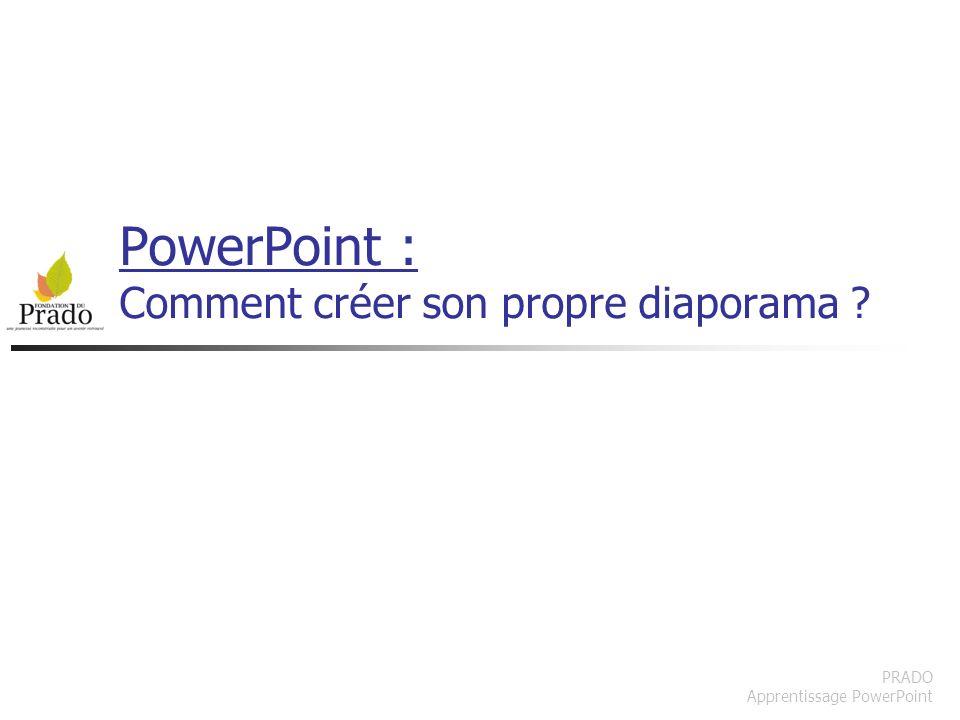 PRADO Apprentissage Powerpoint Insérer un élément via le menu Sélectionnez lobjet réservé pour du contenu avant d insérer un élément via le menu ( ex : graph excel ) On peut aussi faire un copier coller