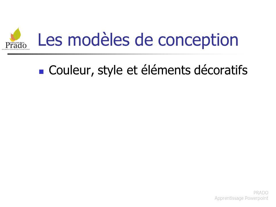 PRADO Apprentissage Powerpoint Les modèles de conception Couleur, style et éléments décoratifs