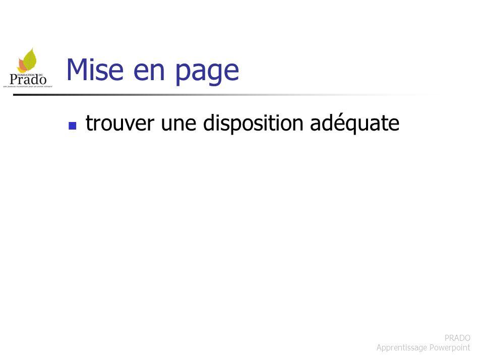 PRADO Apprentissage Powerpoint Mise en page trouver une disposition adéquate