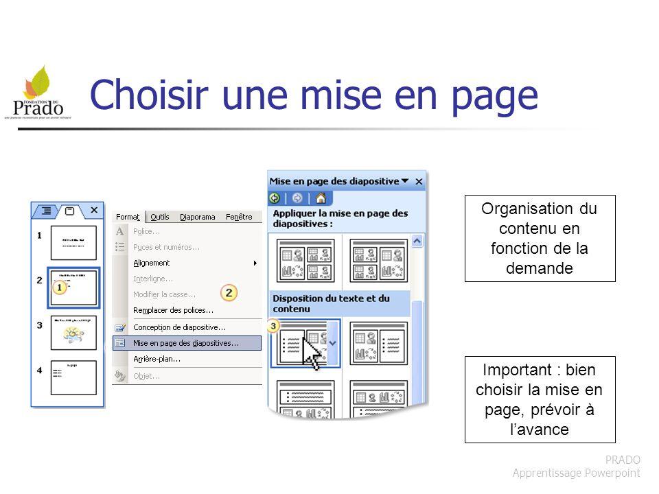 PRADO Apprentissage Powerpoint Choisir une mise en page Important : bien choisir la mise en page, prévoir à lavance Organisation du contenu en fonctio