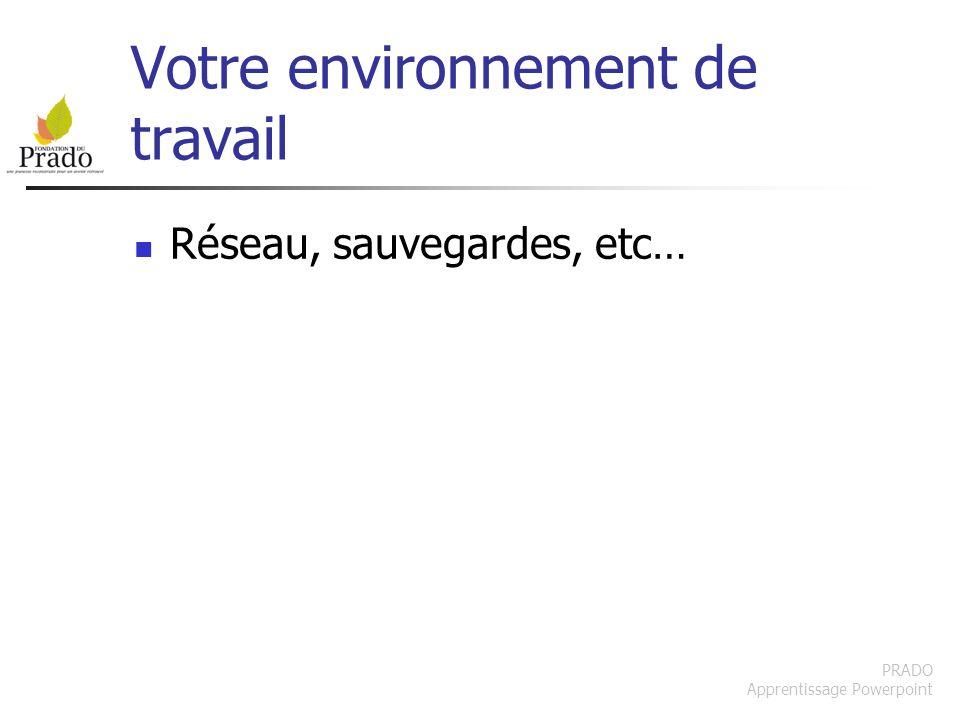 PRADO Apprentissage Powerpoint Votre environnement de travail Réseau, sauvegardes, etc…