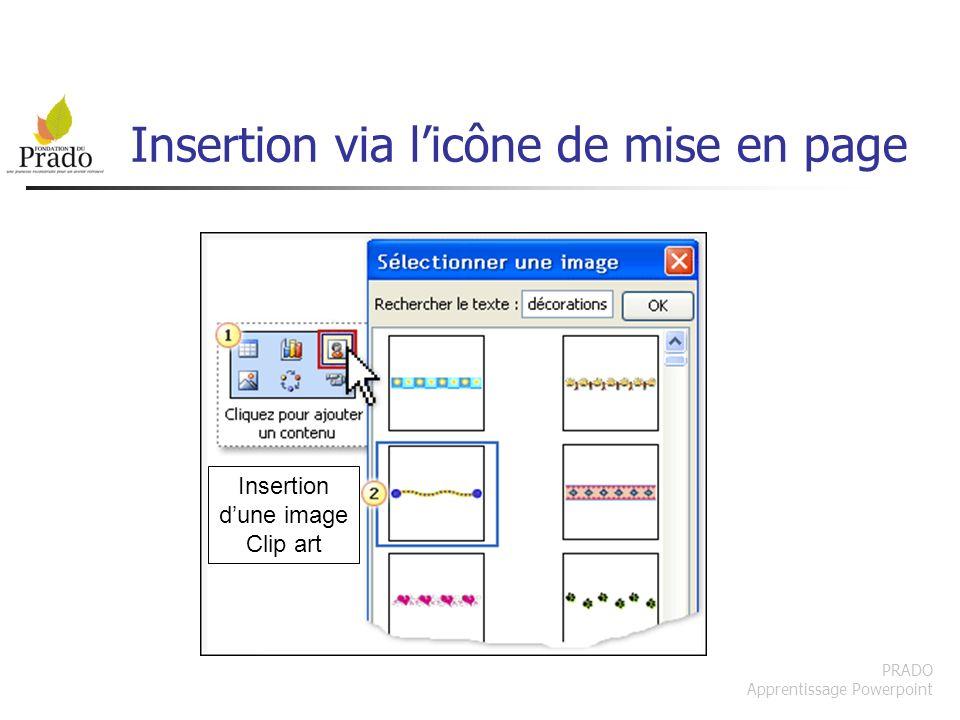 PRADO Apprentissage Powerpoint Insertion via licône de mise en page Insertion dune image Clip art