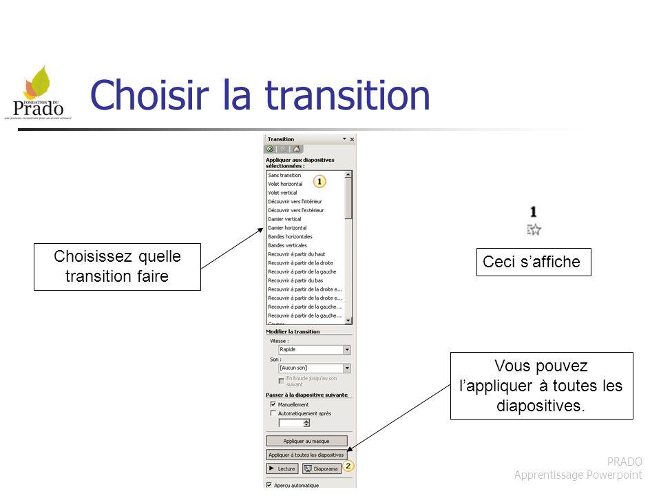 PRADO Apprentissage Powerpoint Choisir la transition Choisissez quelle transition faire Vous pouvez lappliquer à toutes les diapositives. Ceci saffich