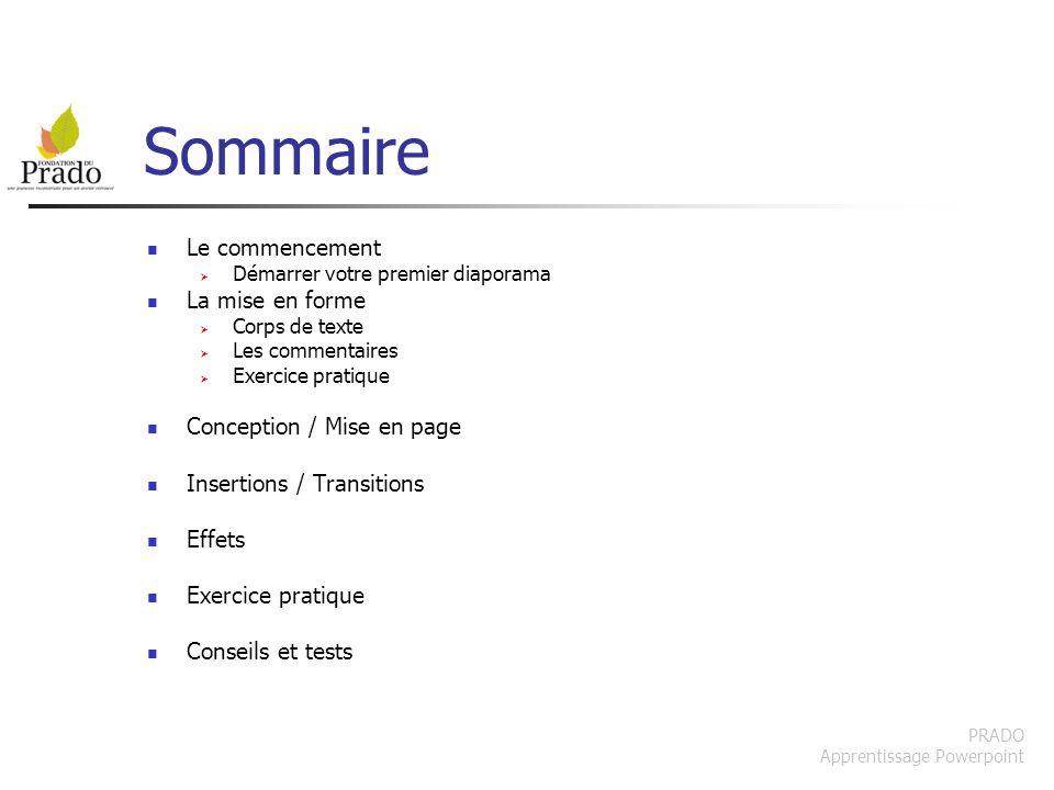 PRADO Apprentissage Powerpoint Choisir la transition Choisissez quelle transition faire Vous pouvez lappliquer à toutes les diapositives.