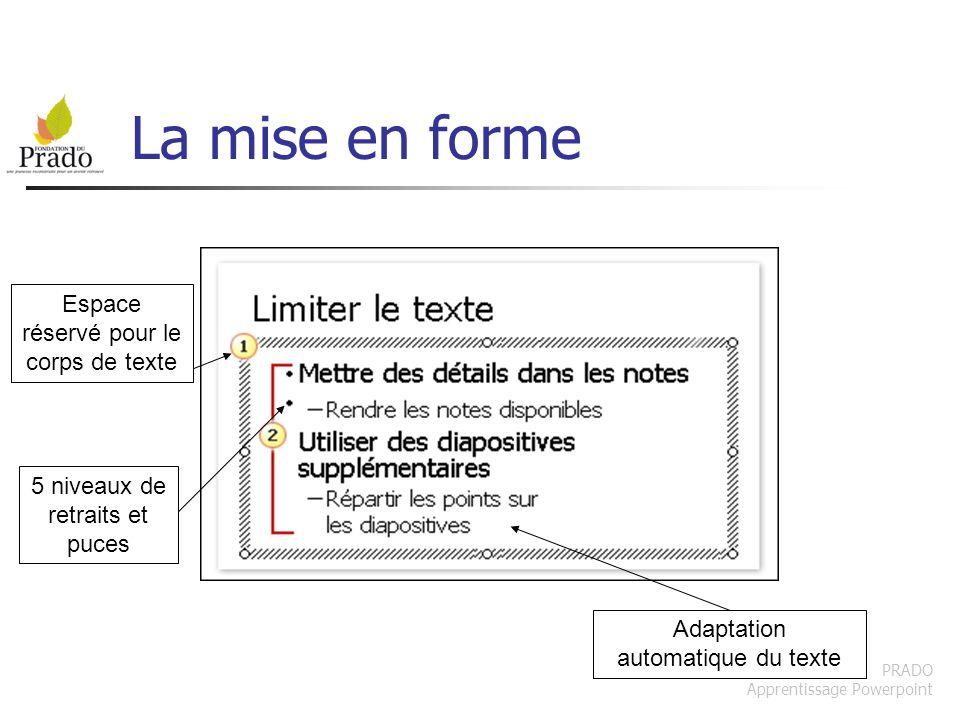 PRADO Apprentissage Powerpoint Choisir une mise en page Important : bien choisir la mise en page, prévoir à lavance Organisation du contenu en fonction de la demande