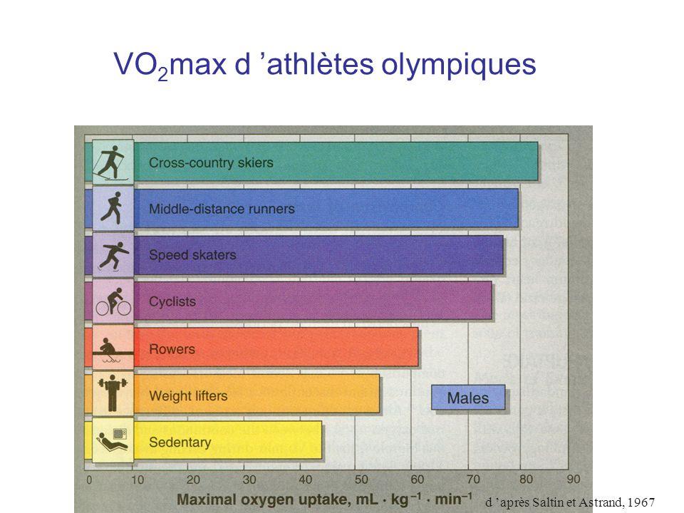 VO 2 max d athlètes olympiques d après Saltin et Astrand, 1967