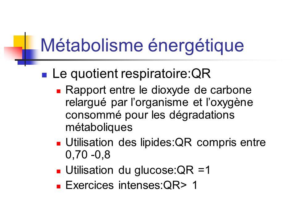 Métabolisme énergétique Le quotient respiratoire:QR Rapport entre le dioxyde de carbone relargué par lorganisme et loxygène consommé pour les dégradat