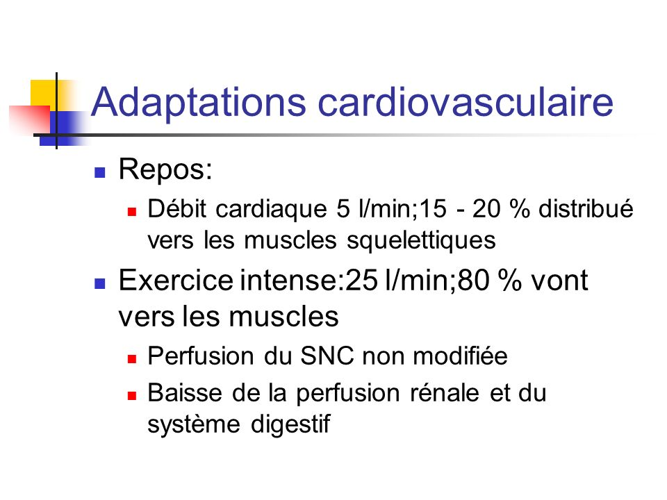 Adaptations cardiovasculaire Repos: Débit cardiaque 5 l/min;15 - 20 % distribué vers les muscles squelettiques Exercice intense:25 l/min;80 % vont ver
