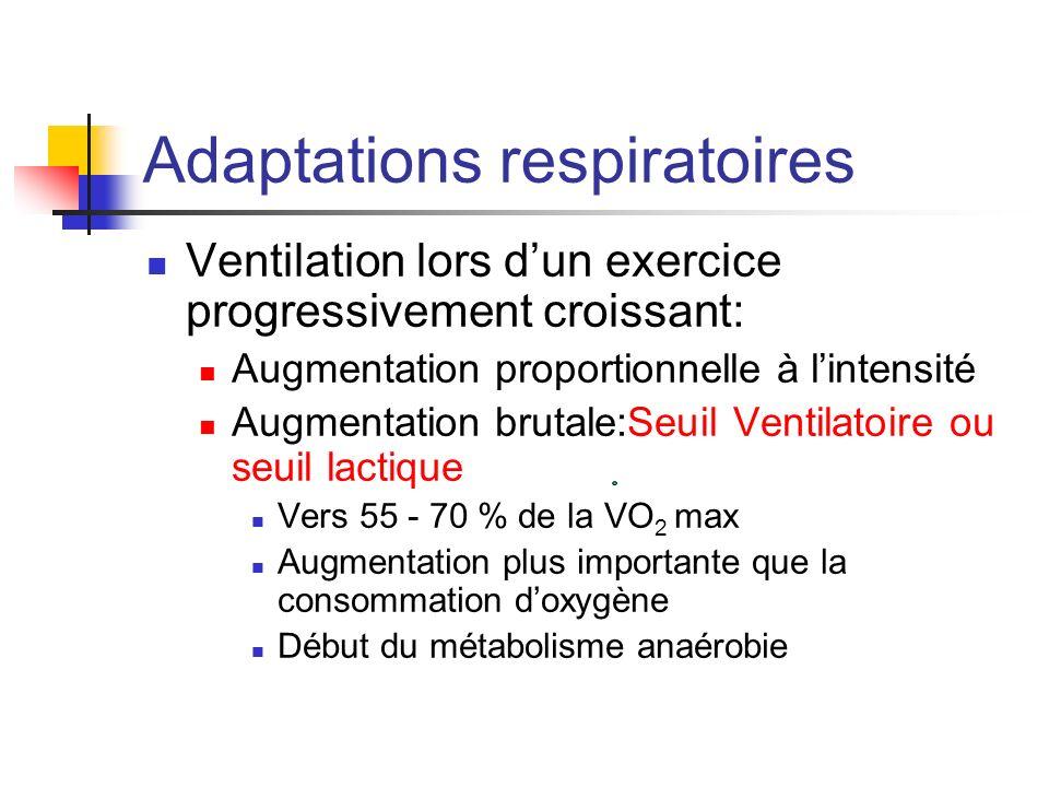 Adaptations respiratoires Ventilation lors dun exercice progressivement croissant: Augmentation proportionnelle à lintensité Augmentation brutale:Seui
