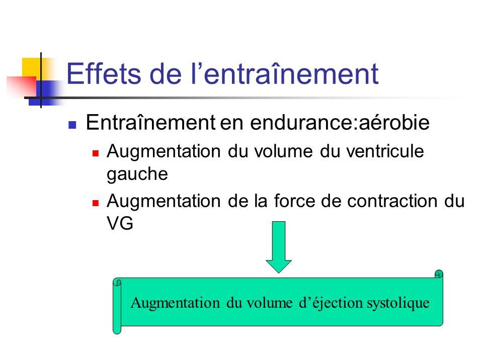 Effets de lentraînement Entraînement en endurance:aérobie Augmentation du volume du ventricule gauche Augmentation de la force de contraction du VG Au