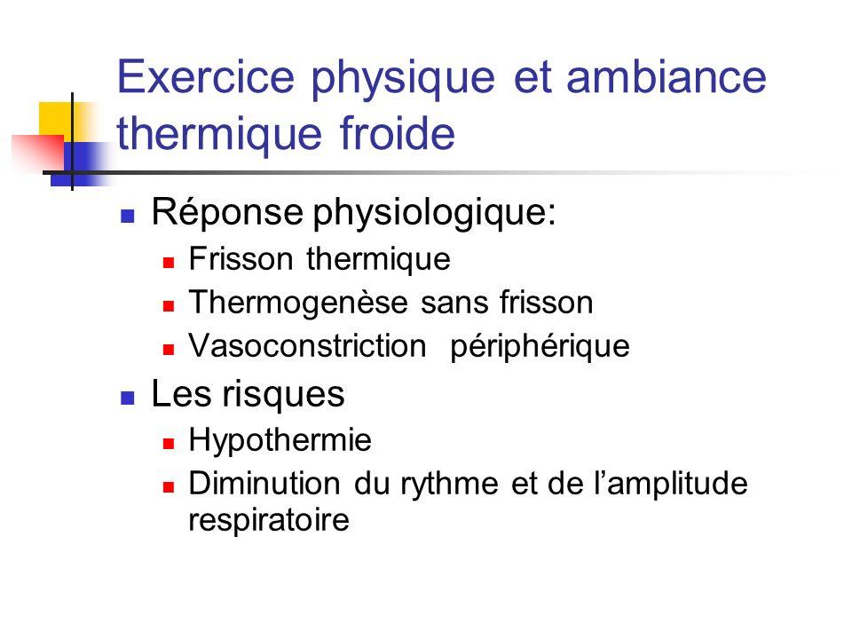 Exercice physique et ambiance thermique froide Réponse physiologique: Frisson thermique Thermogenèse sans frisson Vasoconstriction périphérique Les ri