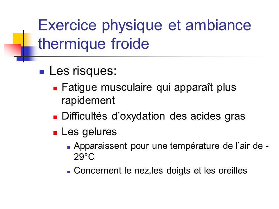Exercice physique et ambiance thermique froide Les risques: Fatigue musculaire qui apparaît plus rapidement Difficultés doxydation des acides gras Les