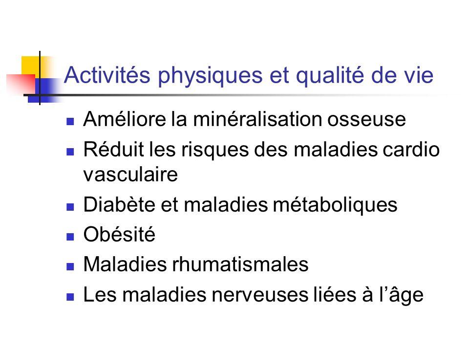 Activités physiques et qualité de vie Améliore la minéralisation osseuse Réduit les risques des maladies cardio vasculaire Diabète et maladies métabol