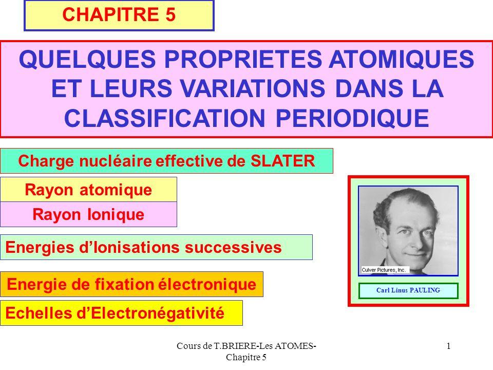 Cours de T.BRIERE-Les ATOMES- Chapitre 5 11 4s Exemples Zn : Z = 30 : [1s 2 ] ; [2s 2 ; 2p 6 ] ;[ 3s 2 ; 3p 6 ] ; [3d 10 ] ; [4s 2 ] +30 [1s 2 ] [2s 2 ; 2p 6 ][ 3s 2 ; 3p 6 ] 30 - ( 1 * 0,35 ) - ( 18 * 0,85 ) - ( 8 * 1 ) - ( 2 * 1 ) = 4,35 [ 3d 10 ][4s 2 ] = 30 - ( 9 * 0,35 ) - ( 8 * 1 ) - ( 8 * 1 ) - ( 2 * 1 ) = 8,85 = 30 - ( 7 * 0,35 ) - ( 8 * 0,85 ) - ( 2 * 1 ) = 18,75 Z* 4s = Z* 3d Z* 3s;3p Bouton => tableau des ij 0,350,85 110,35111 0,851 3d3s;3p