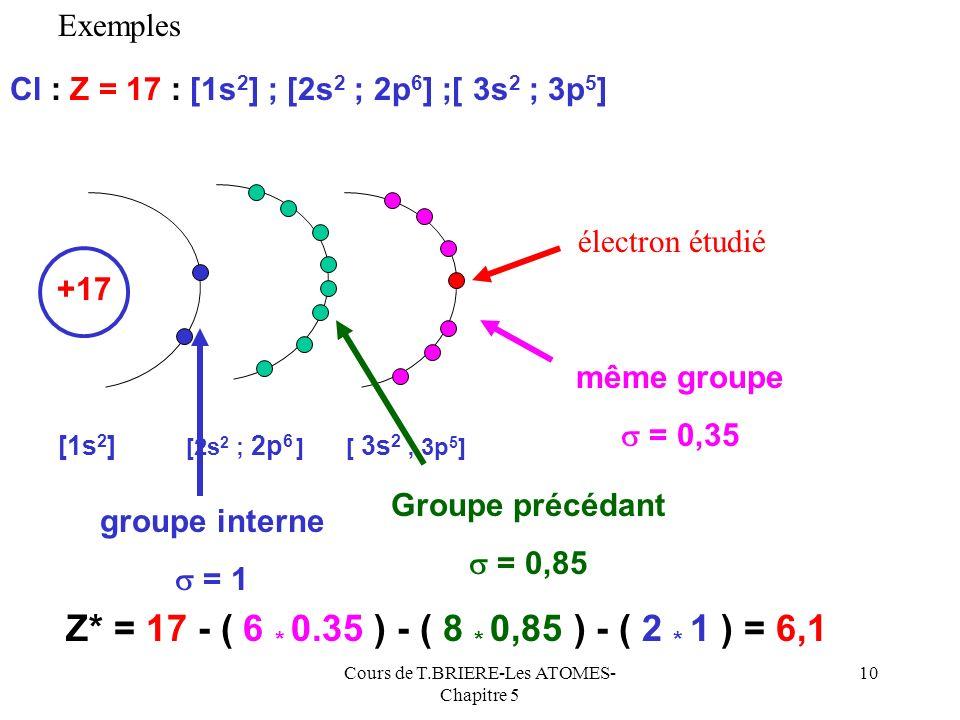 Cours de T.BRIERE-Les ATOMES- Chapitre 5 9 1) La diagonale ne contient que des 0,35 (sauf 0,3 pour 1s) 0,85 Moyen « mnémotechnique » pour retrouver fa
