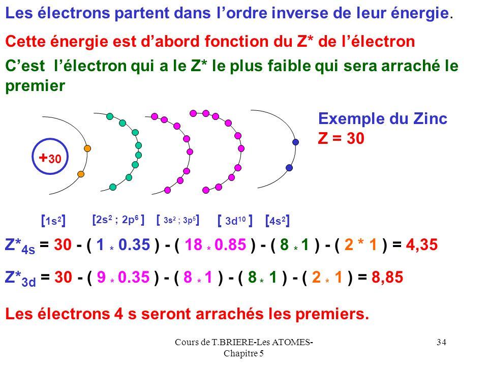 Cours de T.BRIERE-Les ATOMES- Chapitre 5 33 5,4Li75,6122,5 9,3Be18,2153,9217,7 8,3B25,237,9259,4340,2 11,3C24,447,964,5489392 14,5667N29,647,577,5552,