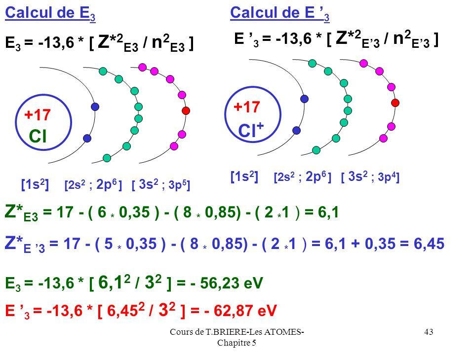 Cours de T.BRIERE-Les ATOMES- Chapitre 5 42 Lénergie orbitalaire dun électron ne dépend que de Z* et de n, si ces deux grandeurs sont identiques léner