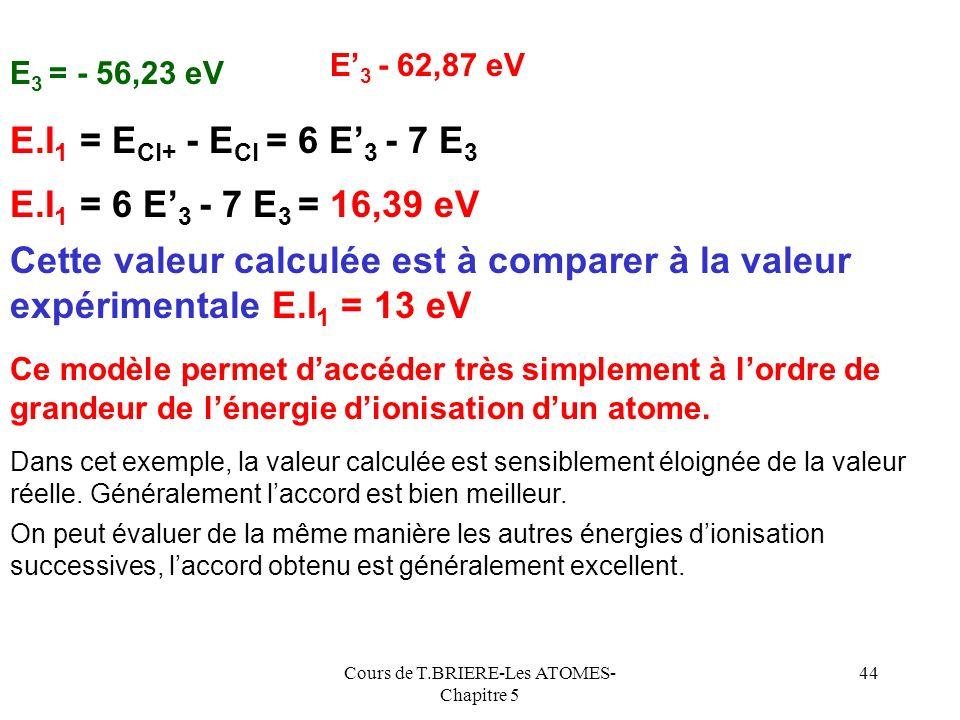 Cours de T.BRIERE-Les ATOMES- Chapitre 5 43 Calcul de E 3 E 3 = -13,6 * [ 6,1 2 / 3 2 ] = - 56,23 eV [1s 2 ] [2s 2 ; 2p 6 ][ 3s 2 ; 3p 5 ] +17 Cl Z* E