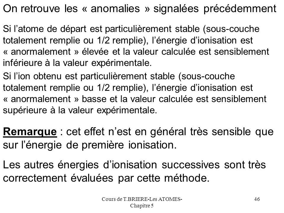 Cours de T.BRIERE-Les ATOMES- Chapitre 5 45 calculéeexpérimentale Ecart ( % ) Li5,7 5,4 6,4 Be7,9 9,3 -15,4 B9,8 8,3 17,8 C11,5 11,3 1,4 N12,9 14,5 -1