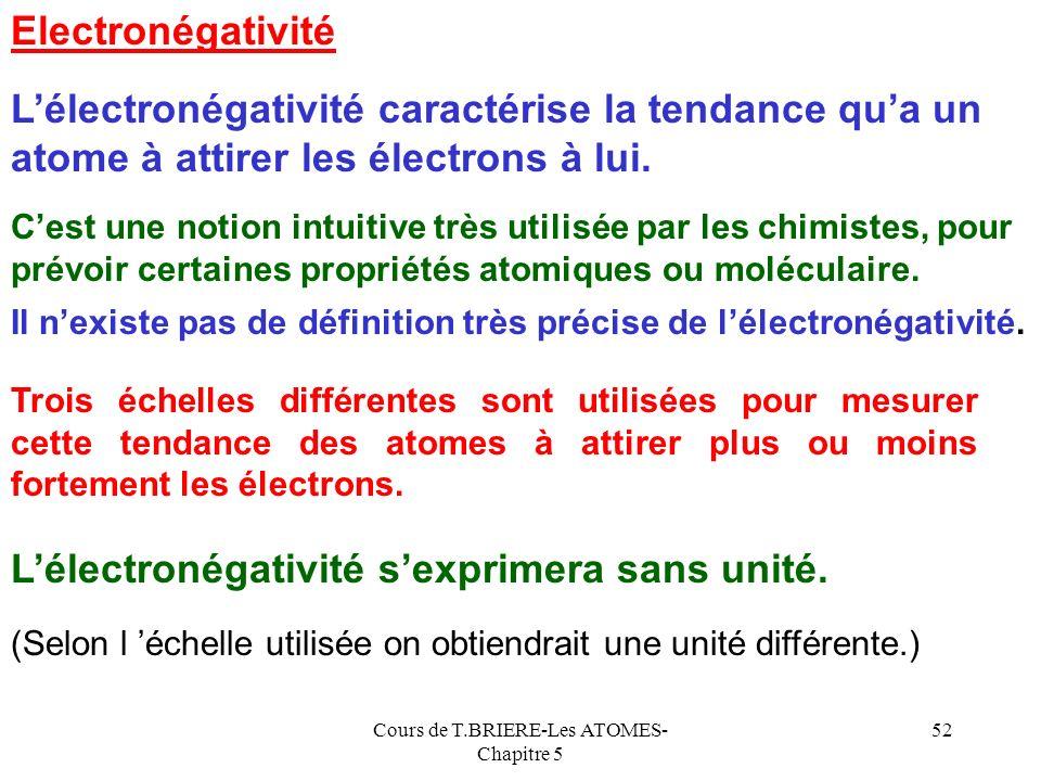 Cours de T.BRIERE-Les ATOMES- Chapitre 5 51 Ne NBe B F O Li C 0 0126789 Anomalies Be stable Facile E.A stable Difficile E.A Facile E.A stable Difficil