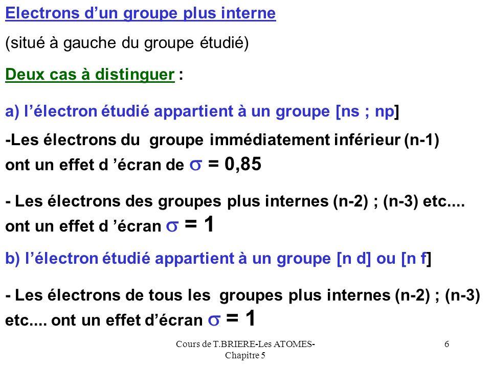 Cours de T.BRIERE-Les ATOMES- Chapitre 5 26 Energies dionisation successives A A+A+ + e-e- + A+A+ A2+A2+ e-e- + A2+A2+ A3+A3+ e-e- Première Ionisation : E.I 1 Deuxième Ionisation : E.I 2 Troisième Ionisation : E.I 3 Il sagit des énergies associées aux réactions suivantes : ……………………………………………… + A ( Z -1) + A z+ e-e- zième Ionisation : E.I z Ces énergies sont toujours positives car il faut fournir de lénergie pour arracher lélectron à lattraction, du noyau.