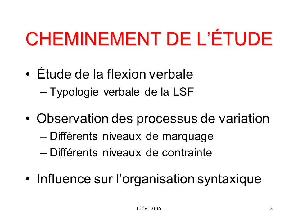 Lille 20062 CHEMINEMENT DE LÉTUDE Étude de la flexion verbale –Typologie verbale de la LSF Observation des processus de variation –Différents niveaux