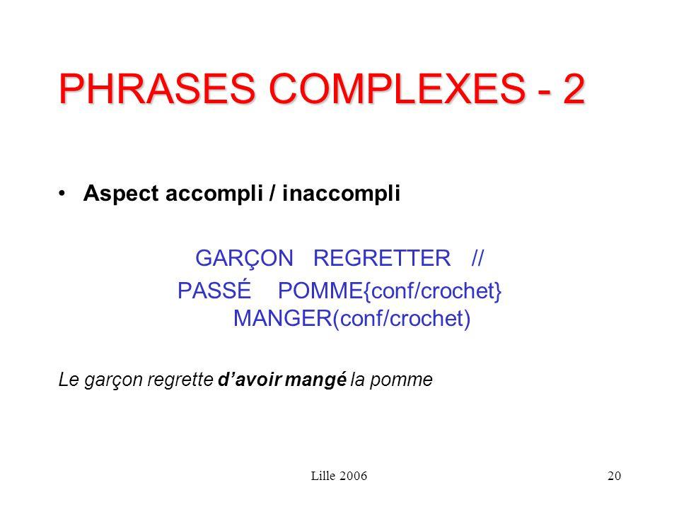 Lille 200620 PHRASES COMPLEXES - 2 Aspect accompli / inaccompli GARÇON REGRETTER // PASSÉ POMME{conf/crochet} MANGER(conf/crochet) Le garçon regrette