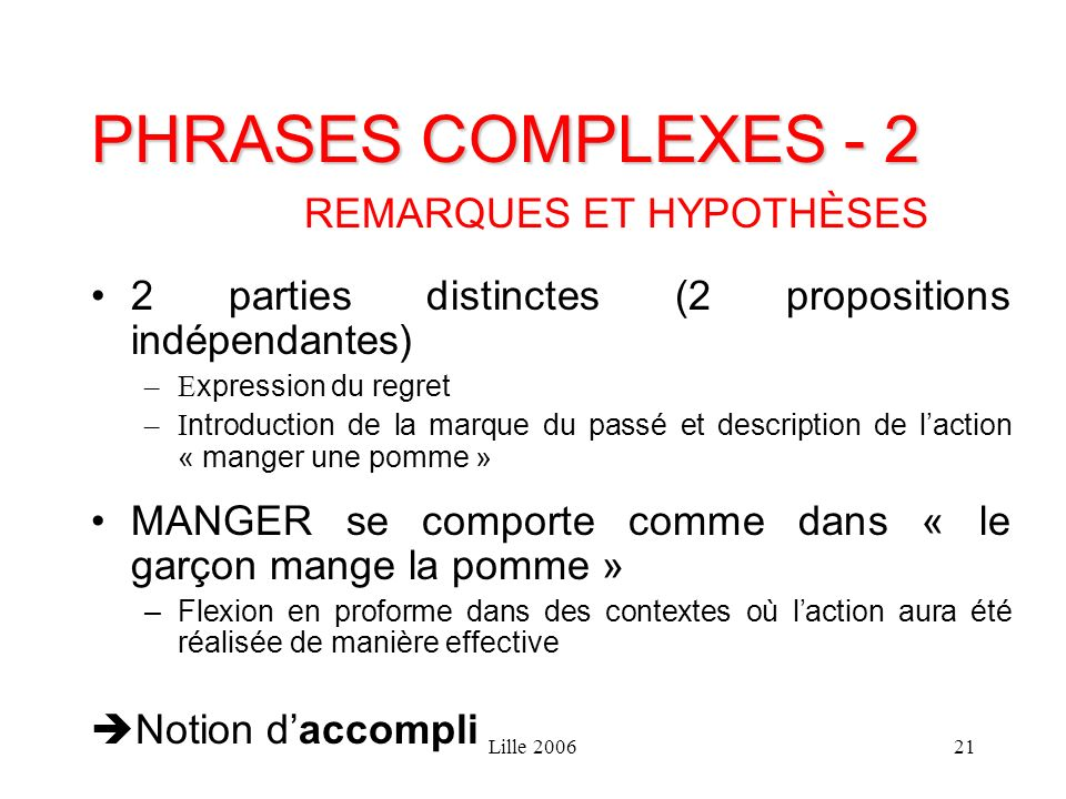 Lille 200621 PHRASES COMPLEXES - 2 REMARQUES ET HYPOTHÈSES 2 parties distinctes (2 propositions indépendantes) –E xpression du regret –I ntroduction d