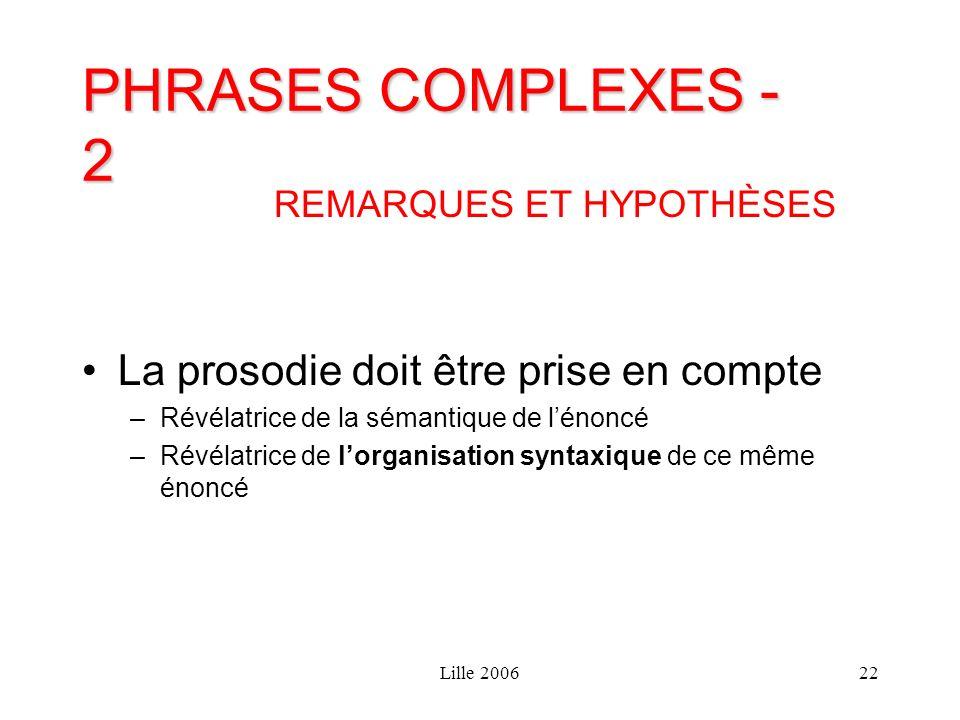 Lille 200622 PHRASES COMPLEXES - 2 REMARQUES ET HYPOTHÈSES La prosodie doit être prise en compte –Révélatrice de la sémantique de lénoncé –Révélatrice
